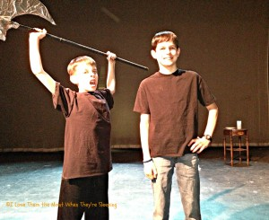 Boychoir Rumpelstiltskin performance. Unfortunately, yes, the ax is ours.